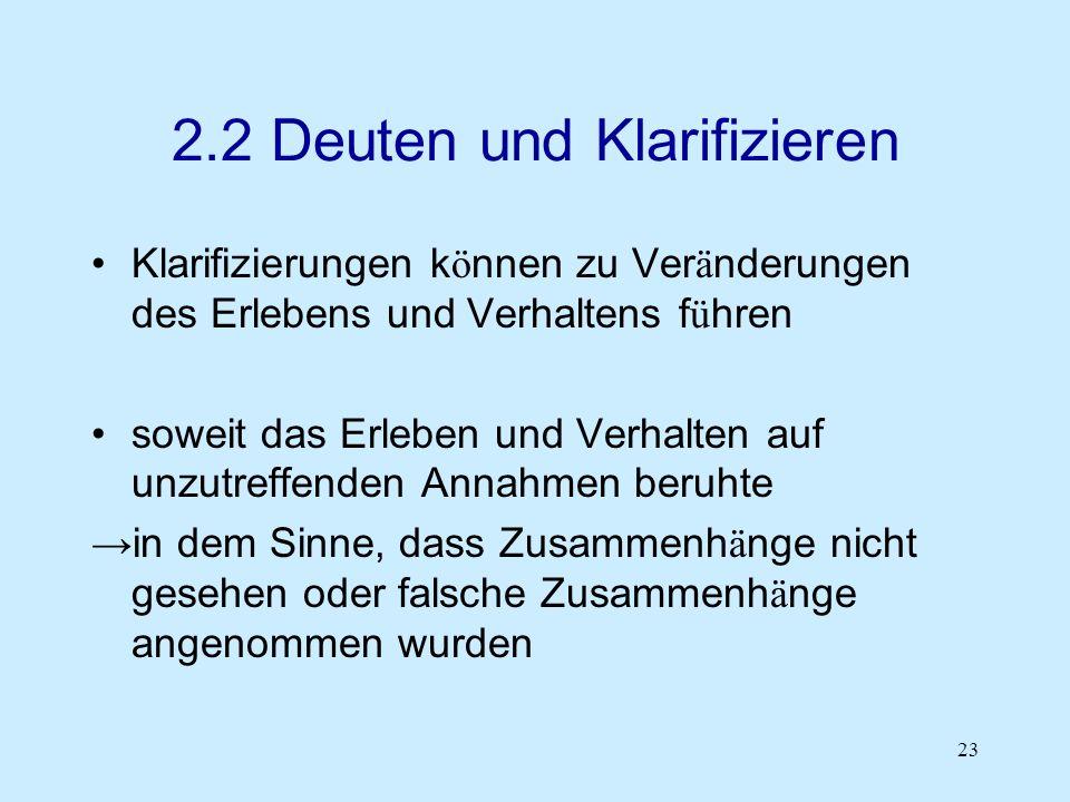 23 2.2 Deuten und Klarifizieren Klarifizierungen k ö nnen zu Ver ä nderungen des Erlebens und Verhaltens f ü hren soweit das Erleben und Verhalten auf