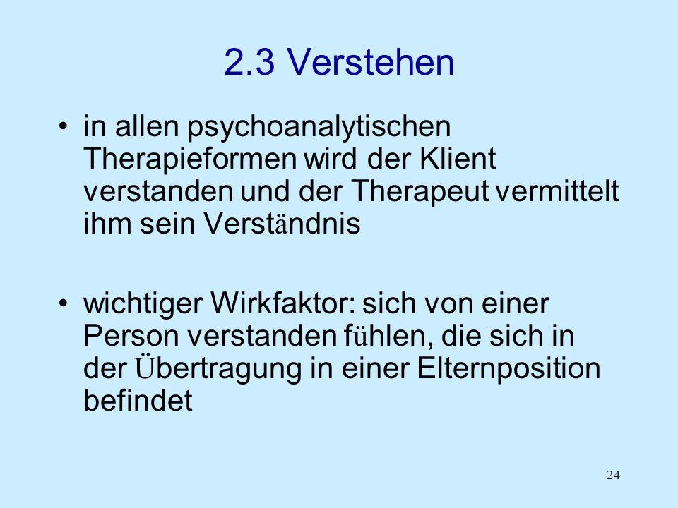 24 2.3 Verstehen in allen psychoanalytischen Therapieformen wird der Klient verstanden und der Therapeut vermittelt ihm sein Verst ä ndnis wichtiger W