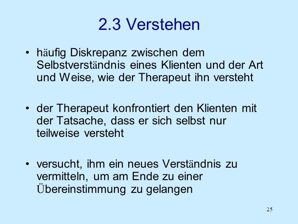 25 2.3 Verstehen h ä ufig Diskrepanz zwischen dem Selbstverst ä ndnis eines Klienten und der Art und Weise, wie der Therapeut ihn versteht der Therape