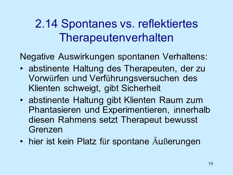 58 2.14 Spontanes vs. reflektiertes Therapeutenverhalten Negative Auswirkungen spontanen Verhaltens: abstinente Haltung des Therapeuten, der zu Vorw ü