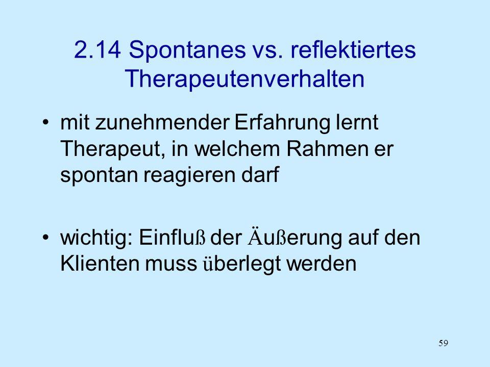 59 2.14 Spontanes vs. reflektiertes Therapeutenverhalten mit zunehmender Erfahrung lernt Therapeut, in welchem Rahmen er spontan reagieren darf wichti