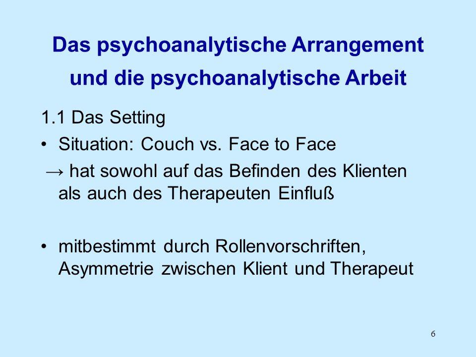 6 Das psychoanalytische Arrangement und die psychoanalytische Arbeit 1.1 Das Setting Situation: Couch vs. Face to Face hat sowohl auf das Befinden des