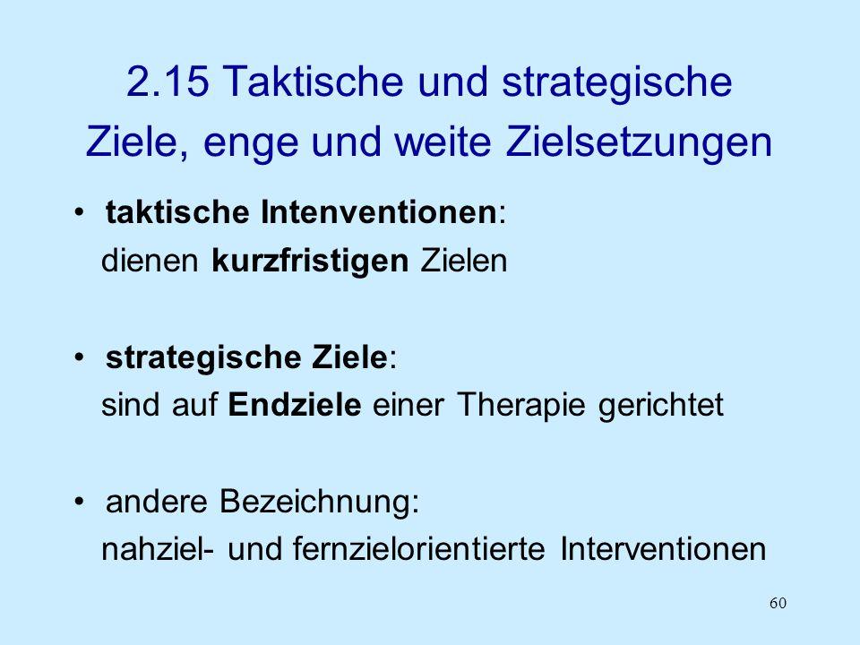 60 2.15 Taktische und strategische Ziele, enge und weite Zielsetzungen taktische Intenventionen: dienen kurzfristigen Zielen strategische Ziele: sind