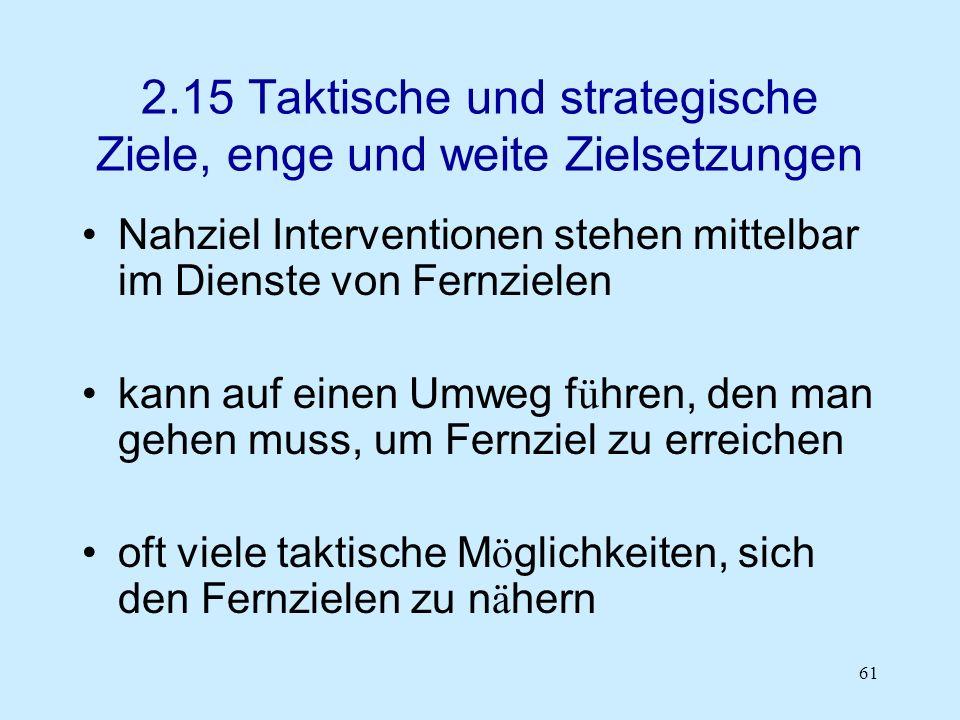 61 2.15 Taktische und strategische Ziele, enge und weite Zielsetzungen Nahziel Interventionen stehen mittelbar im Dienste von Fernzielen kann auf eine