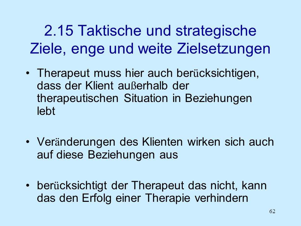 62 2.15 Taktische und strategische Ziele, enge und weite Zielsetzungen Therapeut muss hier auch ber ü cksichtigen, dass der Klient au ß erhalb der the
