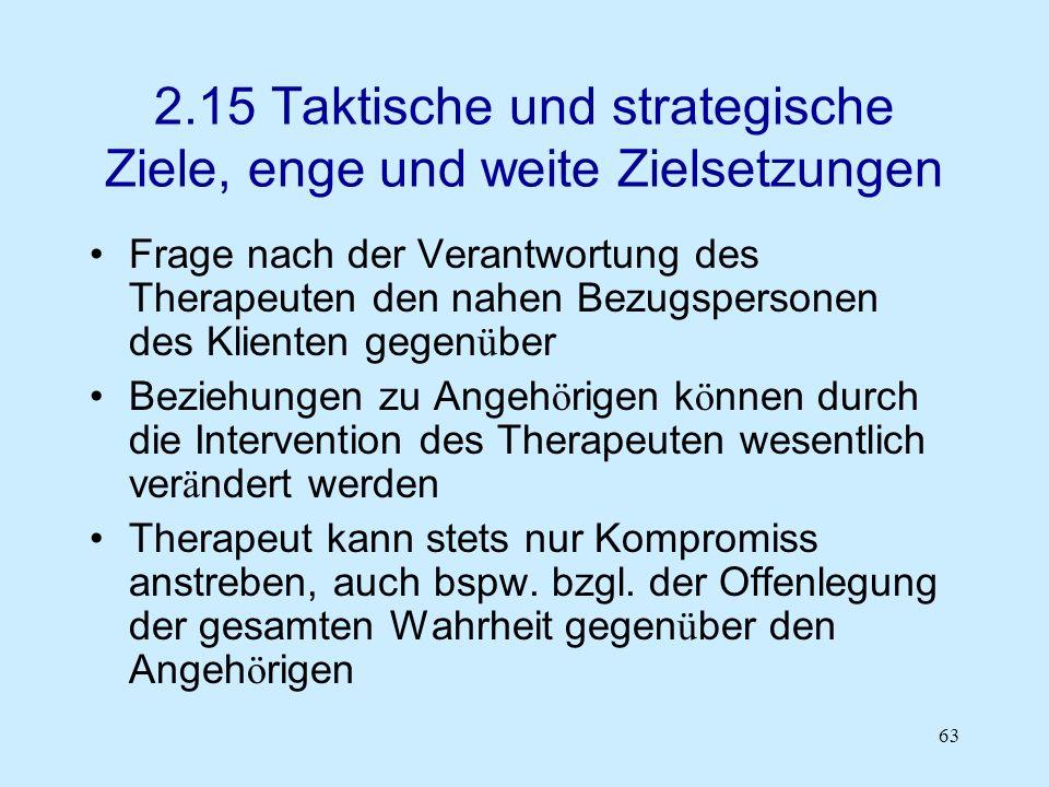 63 2.15 Taktische und strategische Ziele, enge und weite Zielsetzungen Frage nach der Verantwortung des Therapeuten den nahen Bezugspersonen des Klien