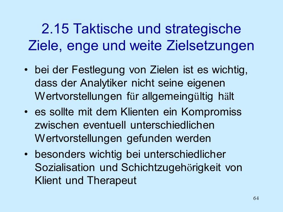 64 2.15 Taktische und strategische Ziele, enge und weite Zielsetzungen bei der Festlegung von Zielen ist es wichtig, dass der Analytiker nicht seine e