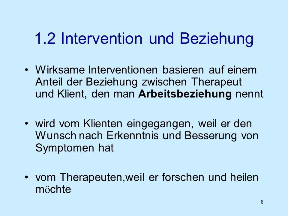 8 1.2 Intervention und Beziehung Wirksame Interventionen basieren auf einem Anteil der Beziehung zwischen Therapeut und Klient, den man Arbeitsbeziehu