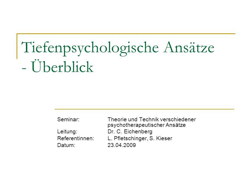 Tiefenpsychologische Ansätze - Überblick Seminar: Theorie und Technik verschiedener psychotherapeutischer Ansätze Leitung: Dr. C. Eichenberg Referenti