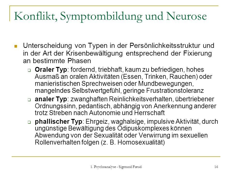 1. Psychoanalyse - Sigmund Freud 16 Konflikt, Symptombildung und Neurose Unterscheidung von Typen in der Persönlichkeitsstruktur und in der Art der Kr