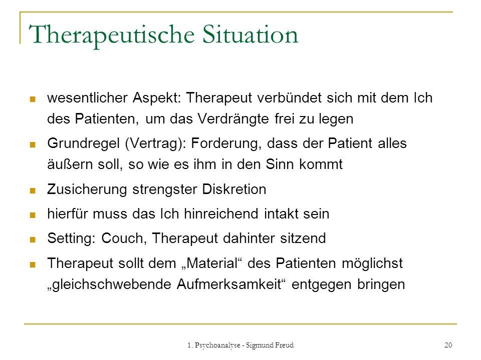 1. Psychoanalyse - Sigmund Freud 20 Therapeutische Situation wesentlicher Aspekt: Therapeut verbündet sich mit dem Ich des Patienten, um das Verdrängt
