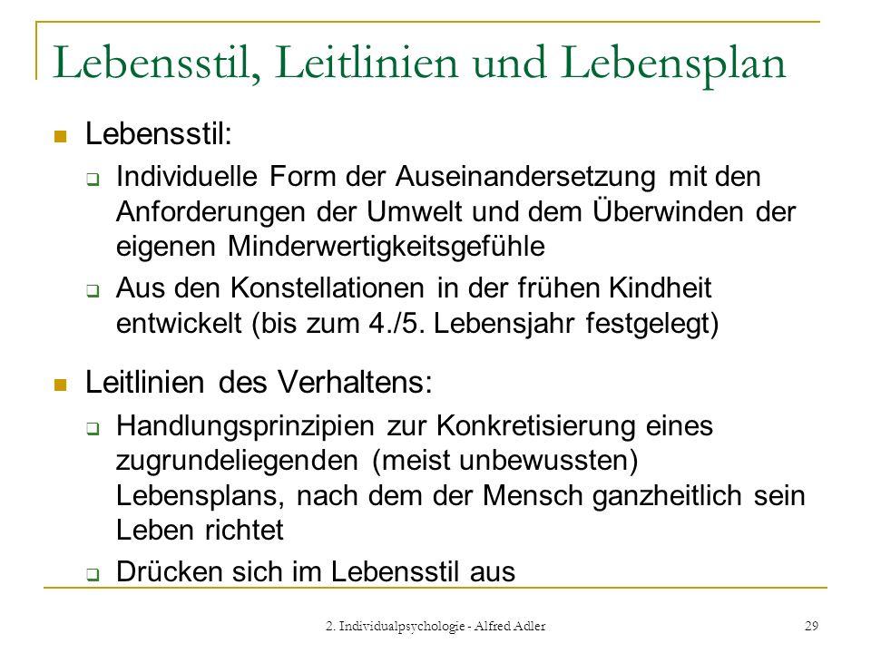 2. Individualpsychologie - Alfred Adler 29 Lebensstil, Leitlinien und Lebensplan Lebensstil: Individuelle Form der Auseinandersetzung mit den Anforder