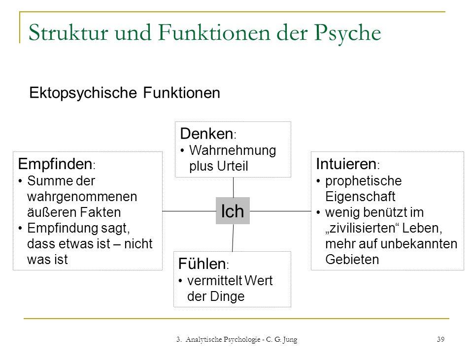 3. Analytische Psychologie - C. G. Jung 39 Struktur und Funktionen der Psyche Ektopsychische Funktionen Ich Denken : Wahrnehmung plus Urteil Fühlen :