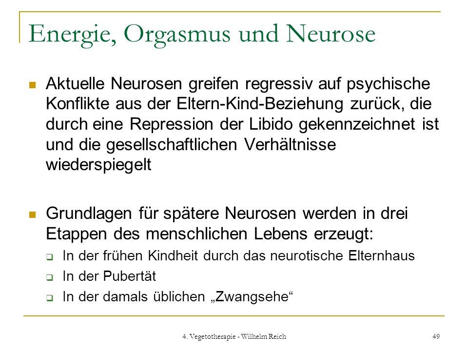 4. Vegetotherapie - Wilhelm Reich 49 Energie, Orgasmus und Neurose Aktuelle Neurosen greifen regressiv auf psychische Konflikte aus der Eltern-Kind-Be