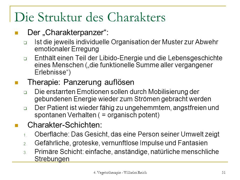 4. Vegetotherapie - Wilhelm Reich 51 Die Struktur des Charakters Der Charakterpanzer: Ist die jeweils individuelle Organisation der Muster zur Abwehr