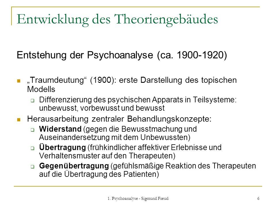 1. Psychoanalyse - Sigmund Freud 6 Entwicklung des Theoriengebäudes Entstehung der Psychoanalyse (ca. 1900-1920) Traumdeutung (1900): erste Darstellun