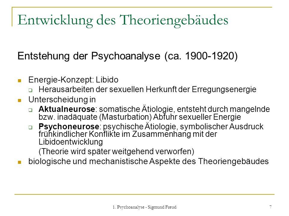 1. Psychoanalyse - Sigmund Freud 7 Entwicklung des Theoriengebäudes Entstehung der Psychoanalyse (ca. 1900-1920) Energie-Konzept: Libido Herausarbeite