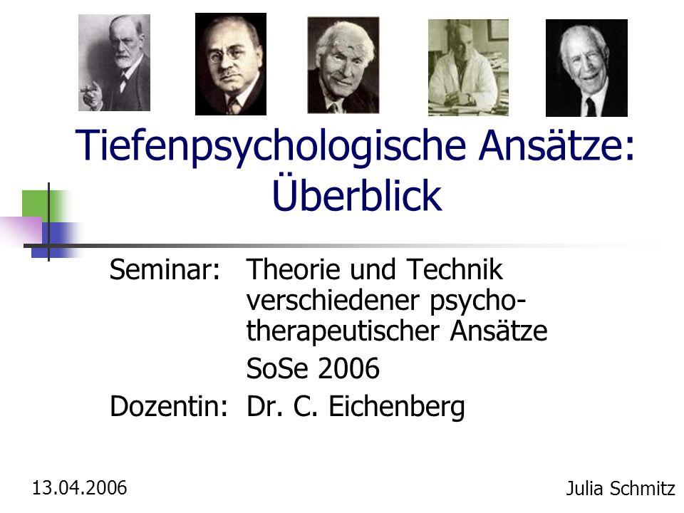 Tiefenpsychologische Ansätze: Überblick Seminar:Theorie und Technik verschiedener psycho- therapeutischer Ansätze SoSe 2006 Dozentin: Dr. C. Eichenber