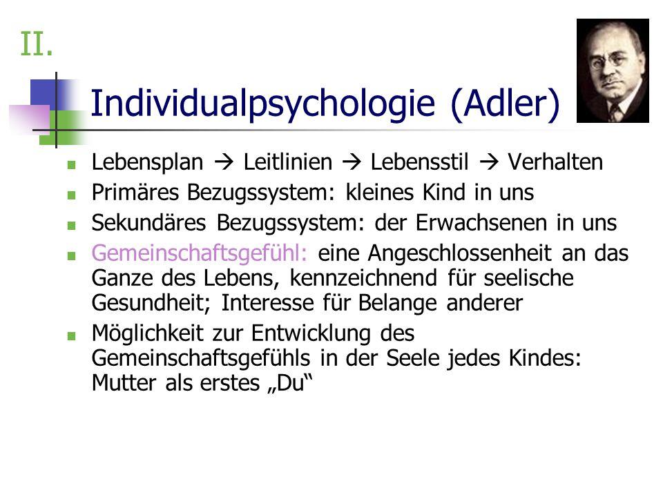 Individualpsychologie (Adler) Lebensplan Leitlinien Lebensstil Verhalten Primäres Bezugssystem: kleines Kind in uns Sekundäres Bezugssystem: der Erwac