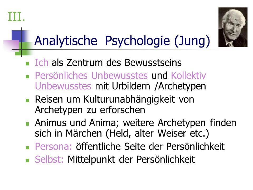 Analytische Psychologie (Jung) Ich als Zentrum des Bewusstseins Persönliches Unbewusstes und Kollektiv Unbewusstes mit Urbildern /Archetypen Reisen um