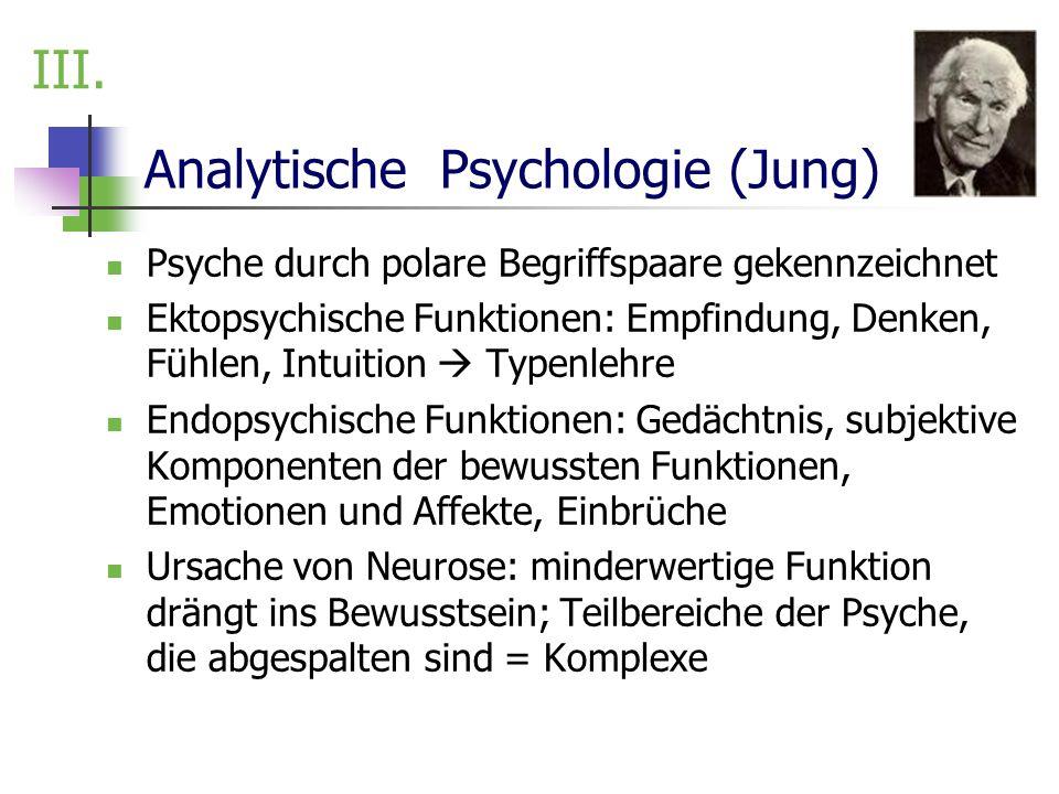 Analytische Psychologie (Jung) Psyche durch polare Begriffspaare gekennzeichnet Ektopsychische Funktionen: Empfindung, Denken, Fühlen, Intuition Typen