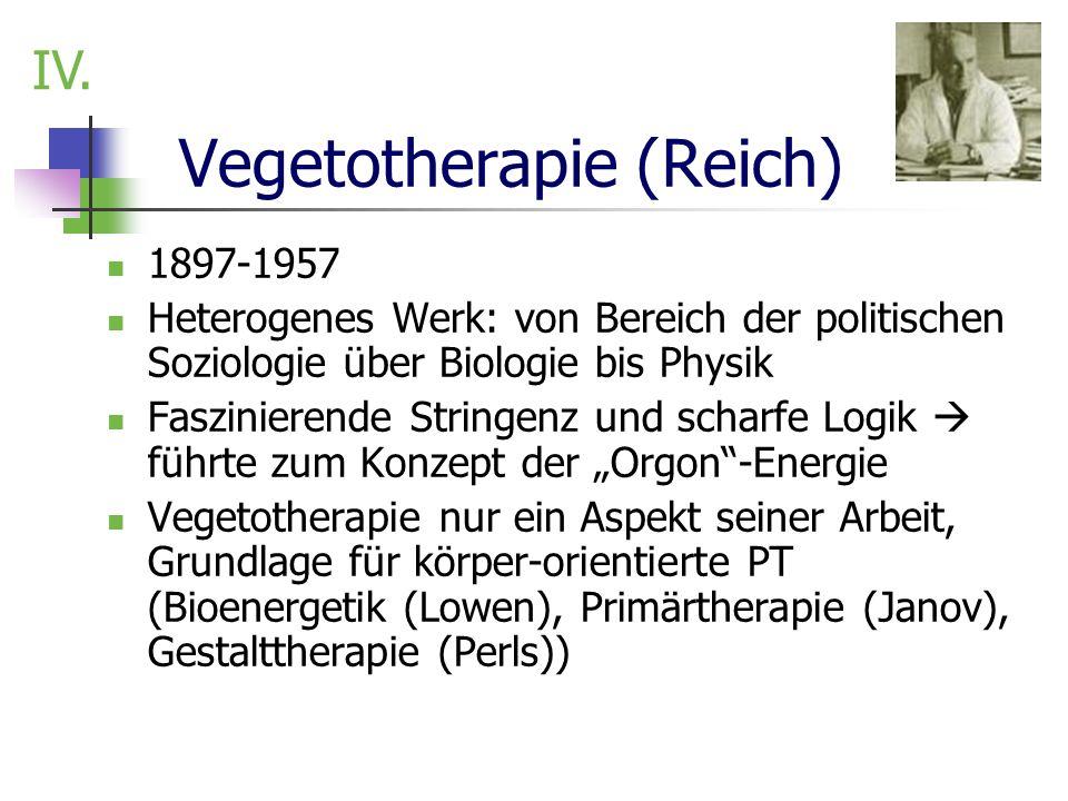 Vegetotherapie (Reich) 1897-1957 Heterogenes Werk: von Bereich der politischen Soziologie über Biologie bis Physik Faszinierende Stringenz und scharfe