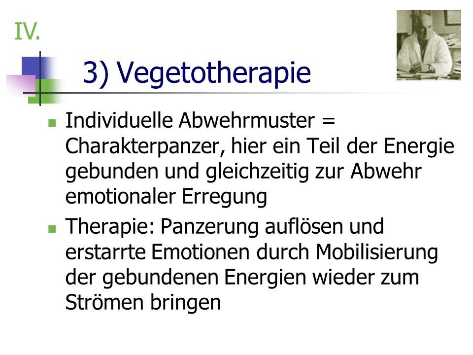 3) Vegetotherapie Individuelle Abwehrmuster = Charakterpanzer, hier ein Teil der Energie gebunden und gleichzeitig zur Abwehr emotionaler Erregung The