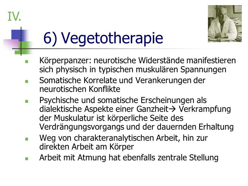 6) Vegetotherapie Körperpanzer: neurotische Widerstände manifestieren sich physisch in typischen muskulären Spannungen Somatische Korrelate und Verank