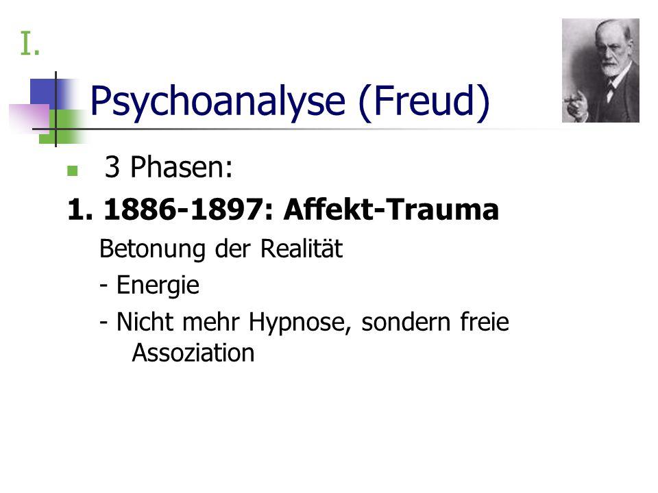 Psychoanalyse (Freud) 3 Phasen: 1. 1886-1897: Affekt-Trauma Betonung der Realität - Energie - Nicht mehr Hypnose, sondern freie Assoziation I.