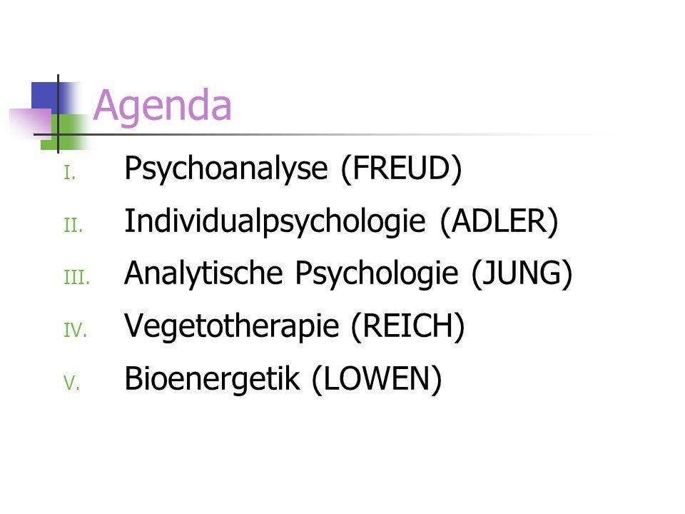 Agenda I. Psychoanalyse (FREUD) II. Individualpsychologie (ADLER) III. Analytische Psychologie (JUNG) IV. Vegetotherapie (REICH) V. Bioenergetik (LOWE
