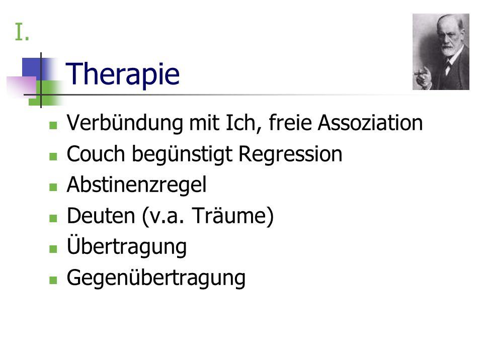 Therapie Verbündung mit Ich, freie Assoziation Couch begünstigt Regression Abstinenzregel Deuten (v.a. Träume) Übertragung Gegenübertragung I.