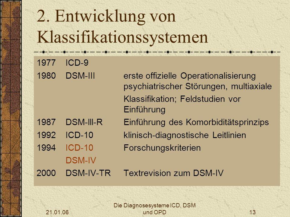 21.01.06 Die Diagnosesysteme ICD, DSM und OPD13 2.