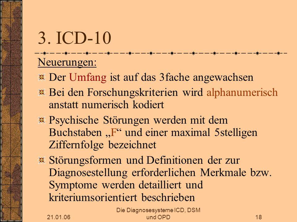21.01.06 Die Diagnosesysteme ICD, DSM und OPD18 3.