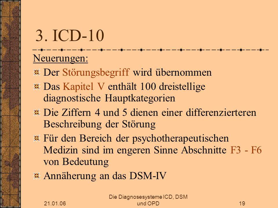 21.01.06 Die Diagnosesysteme ICD, DSM und OPD19 3.