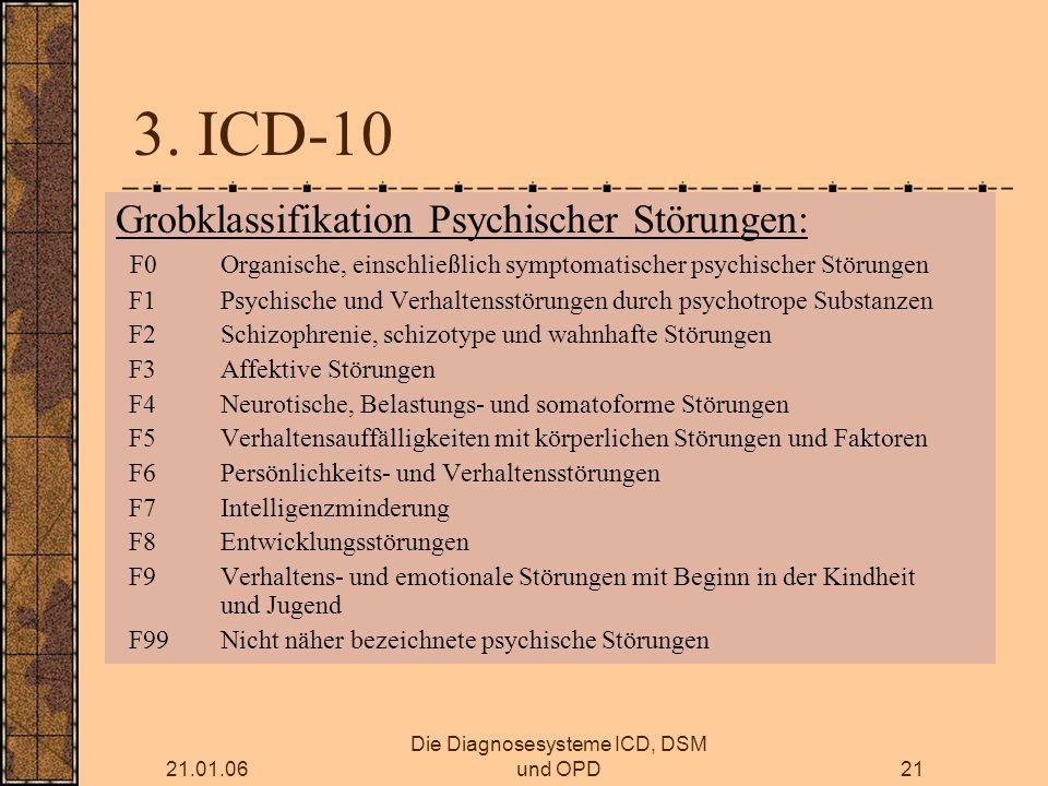 21.01.06 Die Diagnosesysteme ICD, DSM und OPD21 3.