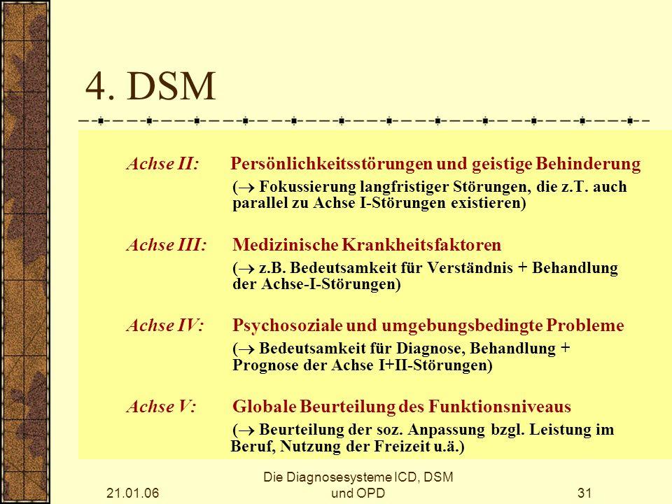 21.01.06 Die Diagnosesysteme ICD, DSM und OPD31 4.