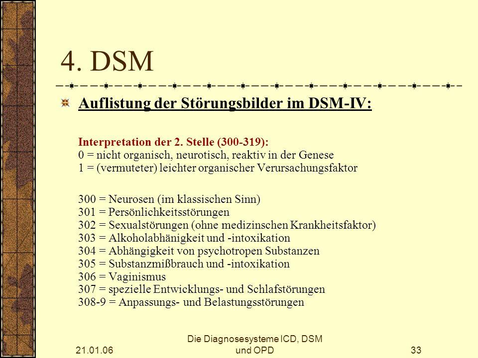 21.01.06 Die Diagnosesysteme ICD, DSM und OPD33 4.
