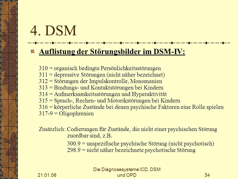 21.01.06 Die Diagnosesysteme ICD, DSM und OPD34 4.