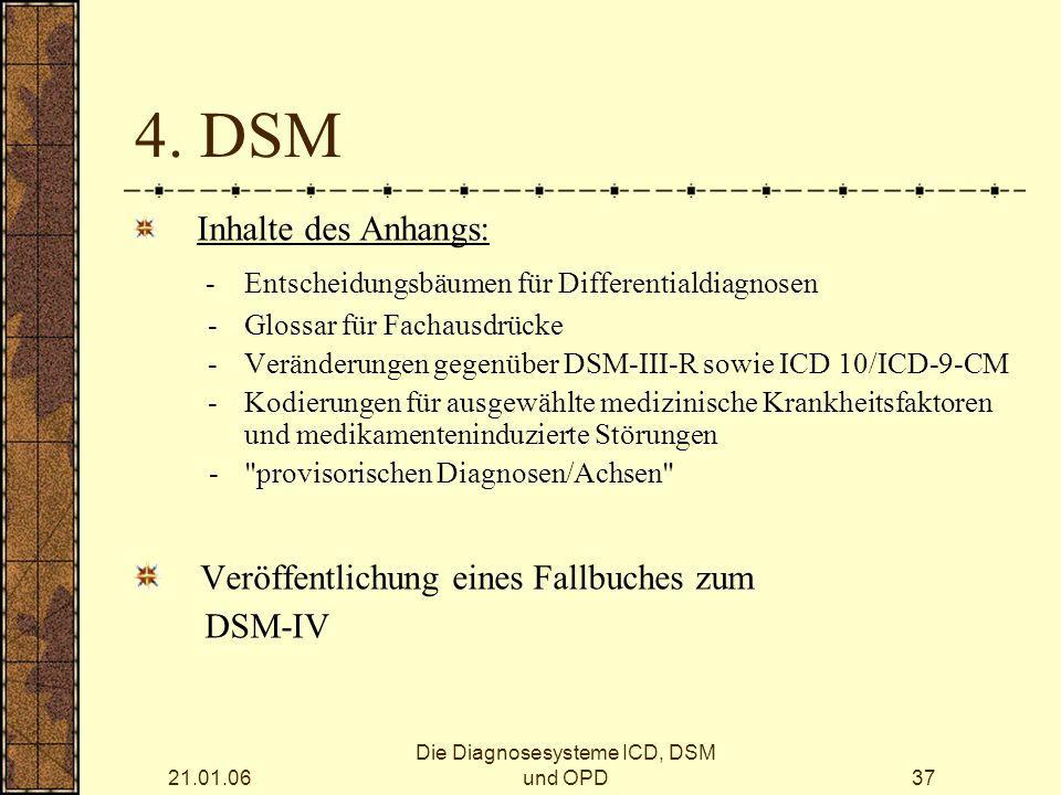 21.01.06 Die Diagnosesysteme ICD, DSM und OPD37 4.