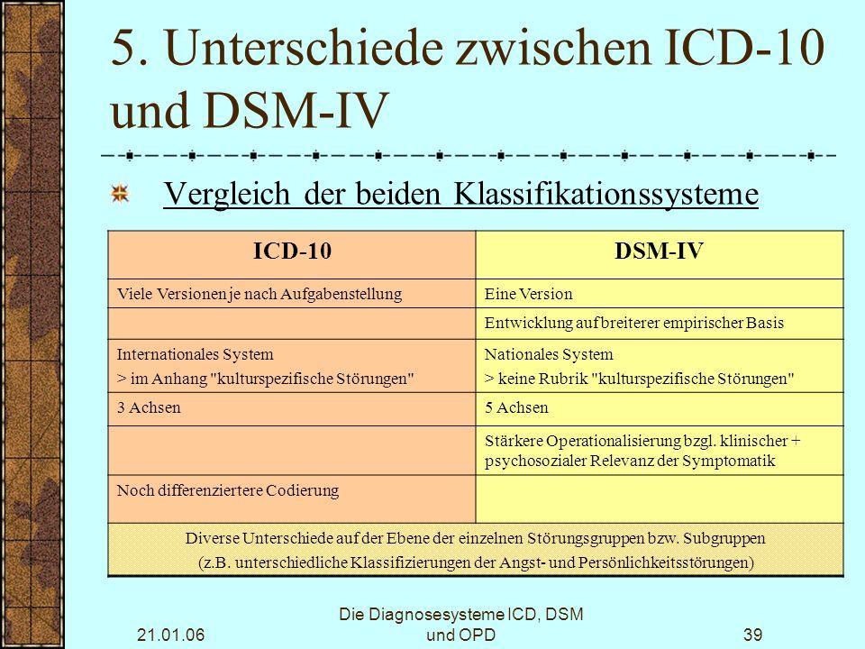 21.01.06 Die Diagnosesysteme ICD, DSM und OPD39 5.