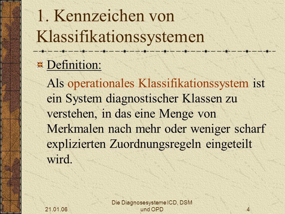 21.01.06 Die Diagnosesysteme ICD, DSM und OPD4 1.