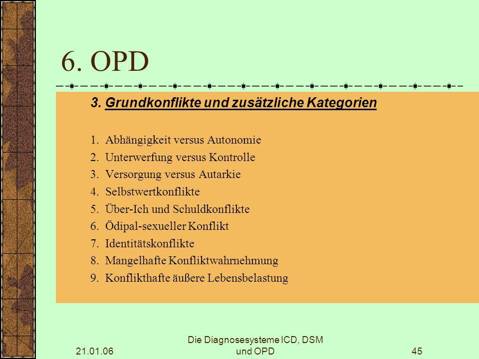 21.01.06 Die Diagnosesysteme ICD, DSM und OPD45 6.