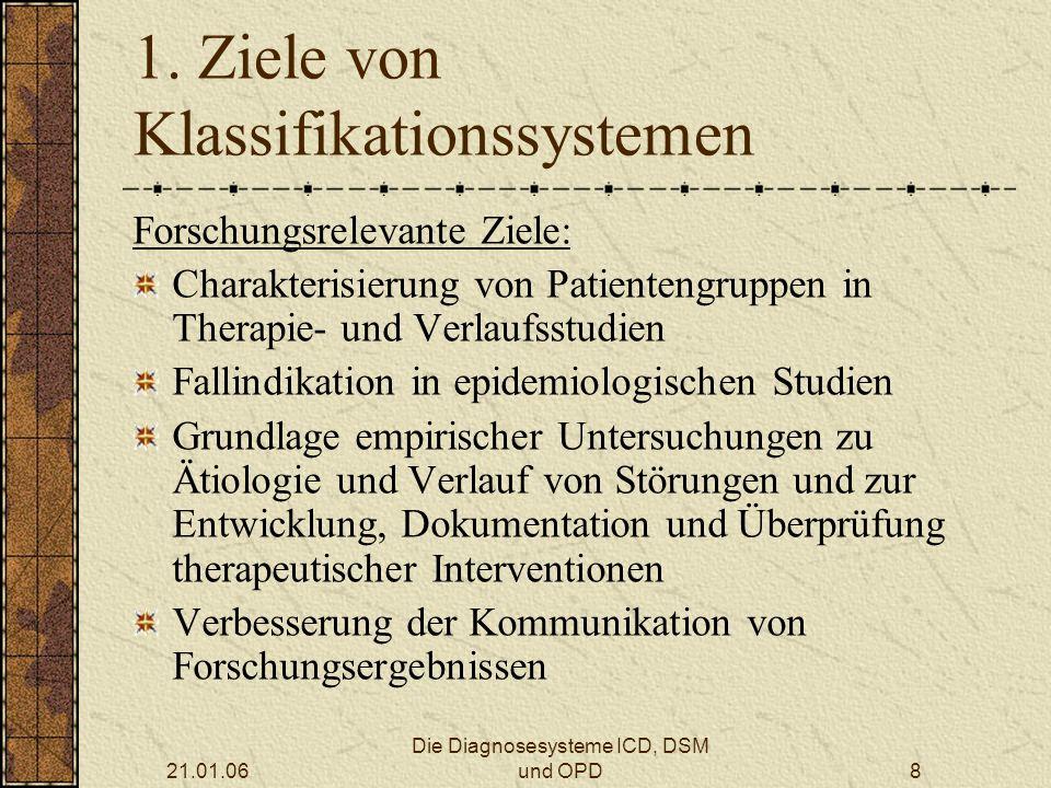 21.01.06 Die Diagnosesysteme ICD, DSM und OPD9 1.