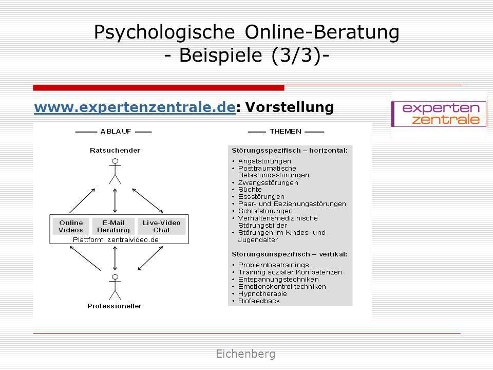 Psychologische Online-Beratung - Beispiele (3/3)- www.expertenzentrale.dewww.expertenzentrale.de: Vorstellung Eichenberg