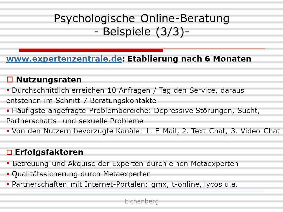 Psychologische Online-Beratung - Beispiele (3/3)- Eichenberg www.expertenzentrale.dewww.expertenzentrale.de: Etablierung nach 6 Monaten Nutzungsraten