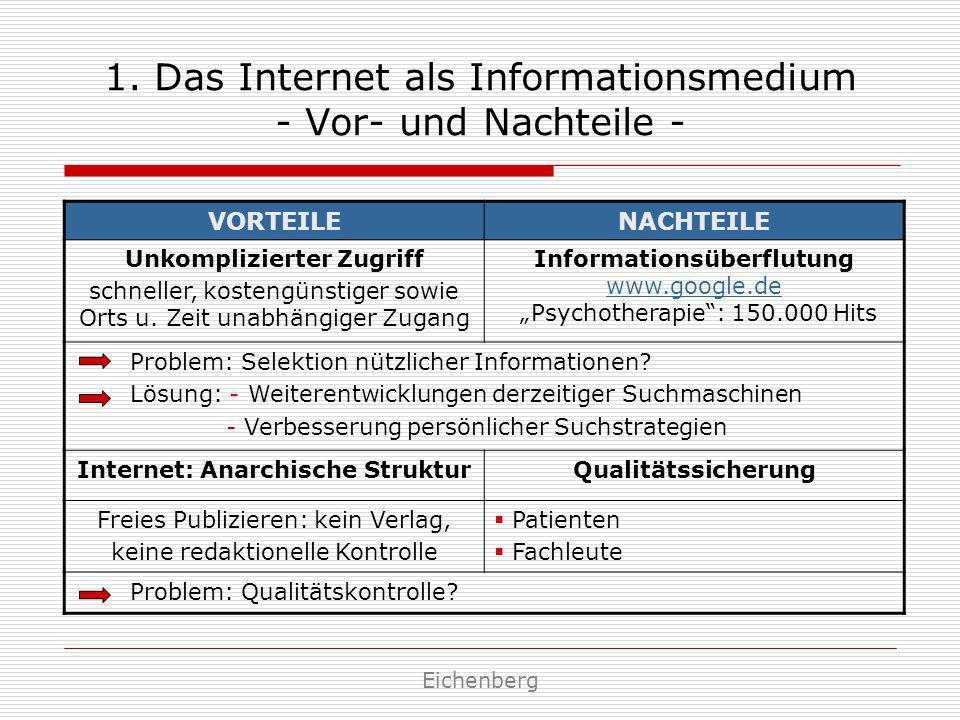1. Das Internet als Informationsmedium - Vor- und Nachteile - VORTEILENACHTEILE Unkomplizierter Zugriff schneller, kostengünstiger sowie Orts u. Zeit