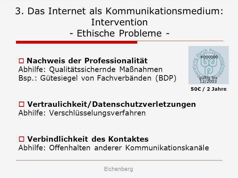 3. Das Internet als Kommunikationsmedium: Intervention - Ethische Probleme - Nachweis der Professionalität Abhilfe: Qualitätssichernde Maßnahmen Bsp.: