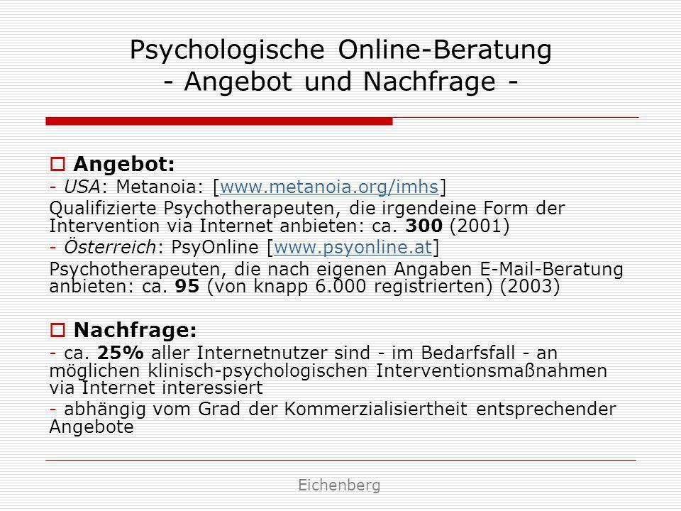Psychologische Online-Beratung - Angebot und Nachfrage - Angebot: - USA: Metanoia: [www.metanoia.org/imhs] Qualifizierte Psychotherapeuten, die irgend