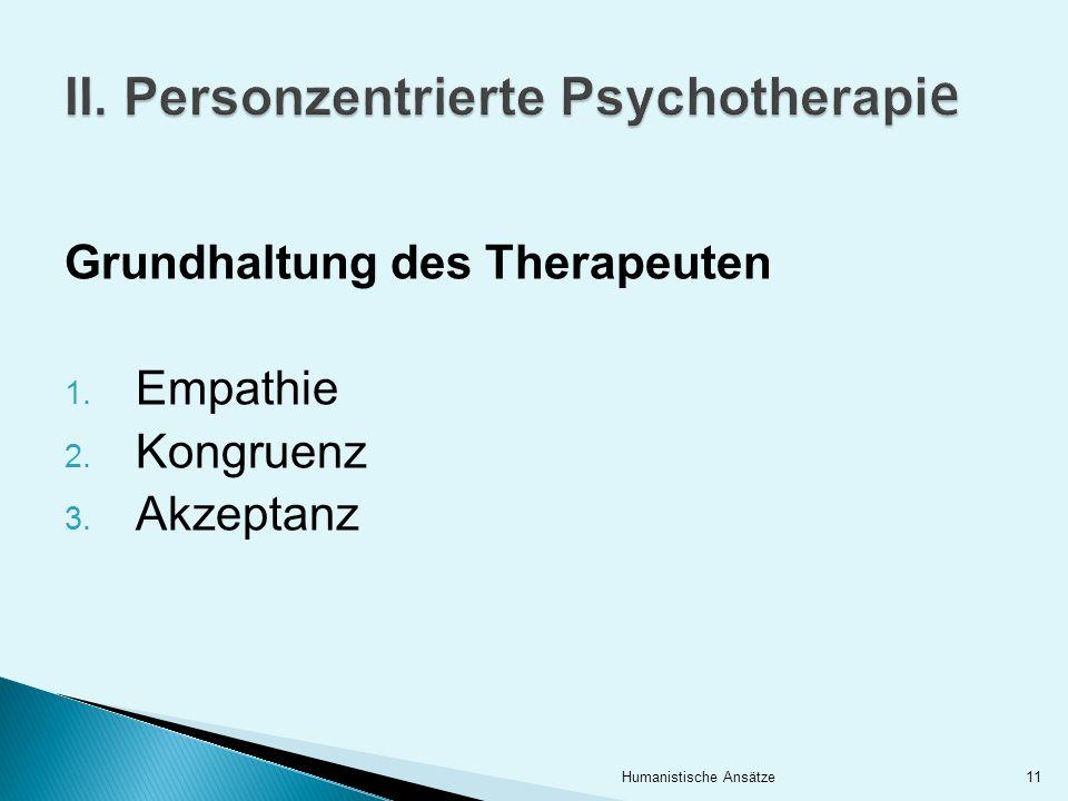 Grundhaltung des Therapeuten 1. Empathie 2. Kongruenz 3. Akzeptanz 11Humanistische Ansätze