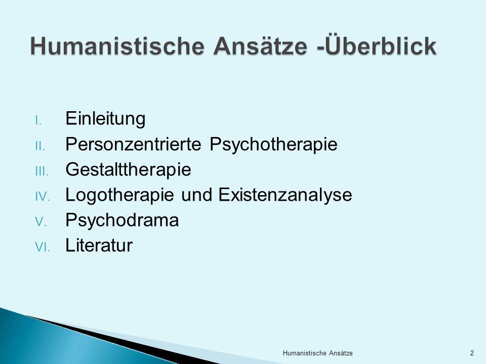 I. Einleitung II. Personzentrierte Psychotherapie III. Gestalttherapie IV. Logotherapie und Existenzanalyse V. Psychodrama VI. Literatur 2Humanistisch